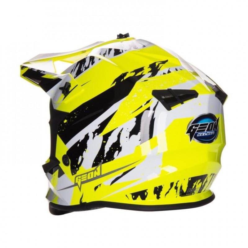 Шлем GEON 633 MX Fox Крос Black Neon Yellow