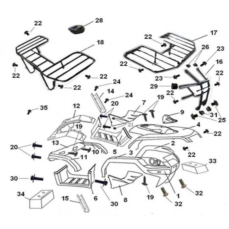 Пластик задний основной черный Speed Gear 300