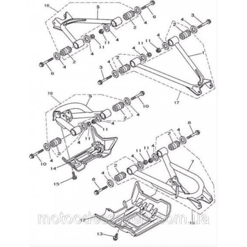 Рычаг правый задний (верхний) в сборе на квадроцикл Speed gear force 500