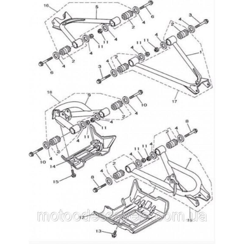 Рычаг левый задний (нижний) в сборе на квадроцикл Speed gear force 400