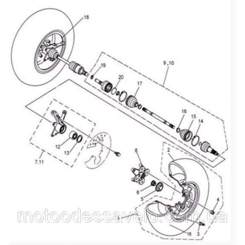 Ступица переднего колеса на квадроцикл  Speed gear force 500