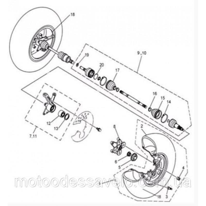 Кулак поворотный передний, левый (цапфа) на квадроцикл  Speed gear force 500