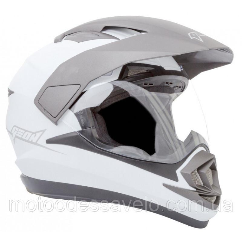 Шлем Geon 714 Дуал-спорт Trek White