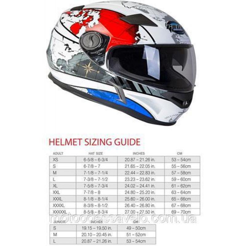 Шлем Geon 952 Интеграл White Blue Maps