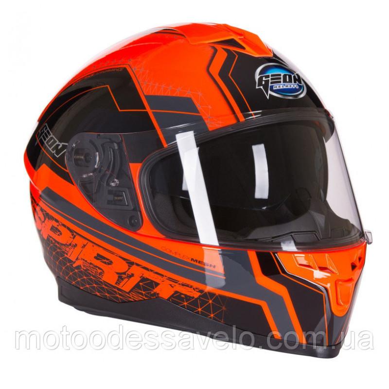 Шлем Geon 967 Интеграл с очками Spirit Black Orange
