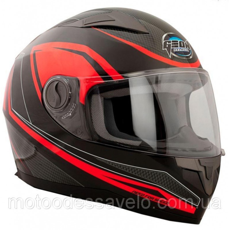 Шлем GEON 968 Интеграл NeedForSpeed черный-красный