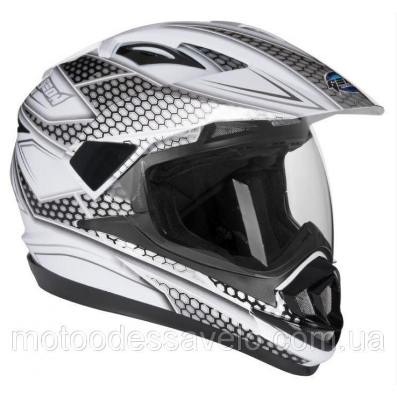 Шлем Geon 714 Дуал-спорт Trek White Black